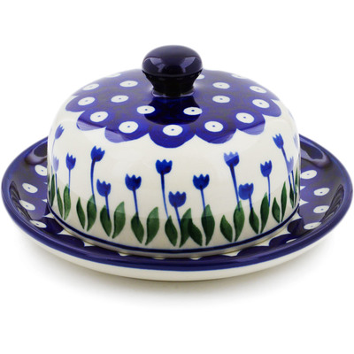 "Polish Pottery Dish with Cover 6"" Blue Tulip Peacock"