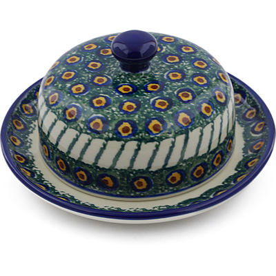 "Polish Pottery Dish with Cover 6"" Emerald Peacock"