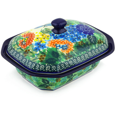 "Polish Pottery Dish with Cover 7"" Garden Delight UNIKAT"