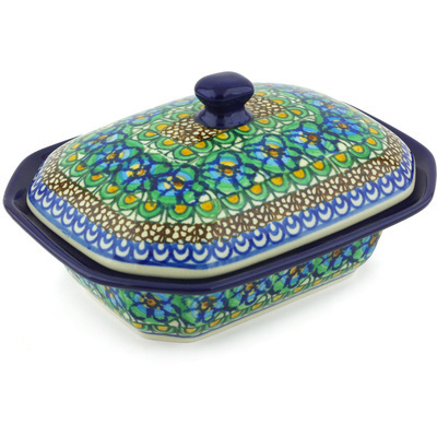"Polish Pottery Dish with Cover 7"" Mardi Gra UNIKAT"
