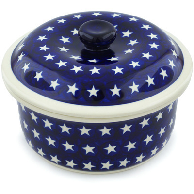"Polish Pottery Dish with Cover 8"" America The Beautiful"