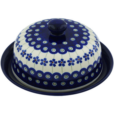 "Polish Pottery Dish with Cover 8"" Flowering Peacock"