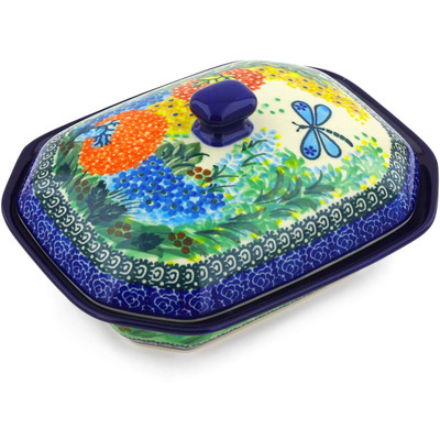 "Polish Pottery Dish with Cover 8"" Garden Delight UNIKAT"