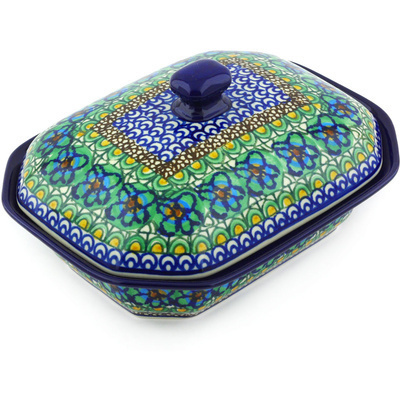 "Polish Pottery Dish with Cover 8"" Mardi Gra UNIKAT"