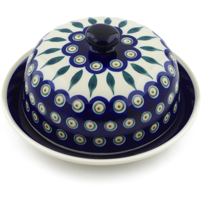 "Polish Pottery Dish with Cover 8"" Peacock Leaves"