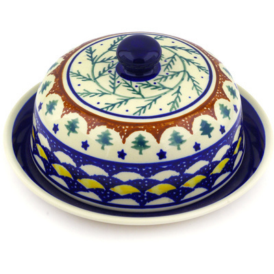 "Polish Pottery Dish with Cover 8"" Pine Boughs"