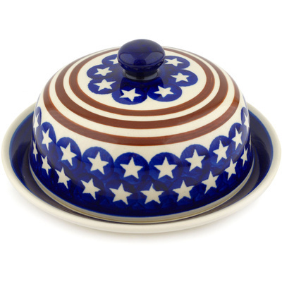 "Polish Pottery Dish with Cover 8"" Stars And Stripes Forever"