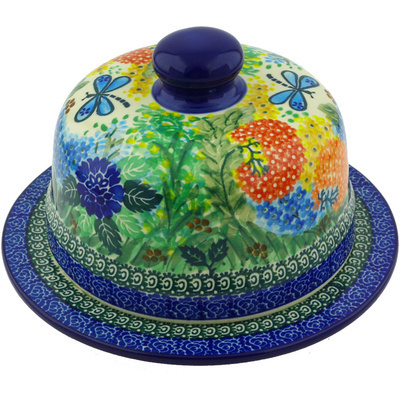 "Polish Pottery Dish with Cover 9"" Garden Delight UNIKAT"