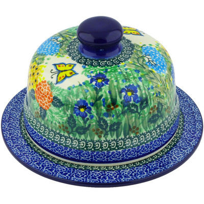 "Polish Pottery Dish with Cover 9"" Spring Garden UNIKAT"
