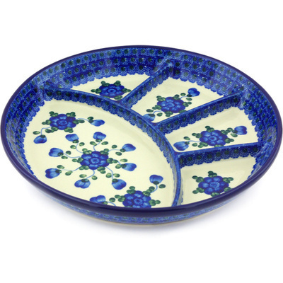 "Polish Pottery Divided Dish 11"" Blue Poppies"