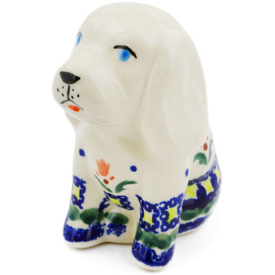 "Polish Pottery Dog Figurine 4"" Cocentric Tulips"