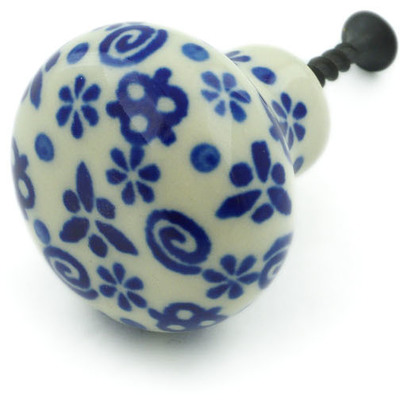 Polish Pottery Drawer knob 1-1/2 inch Blue Confetti