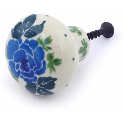 Polish Pottery Drawer knob 1-1/2 inch Blue Garland