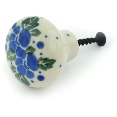 Polish Pottery Drawer knob 1-1/2 inch Blue Speckle Garland