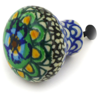 Polish Pottery Drawer knob 1-1/2 inch Mardi Gra UNIKAT