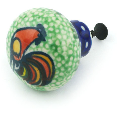 Polish Pottery Drawer knob 1-1/2 inch Rooster Parade UNIKAT