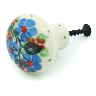 Polish Pottery Drawer knob 1-1/2 inch Spring Wreath