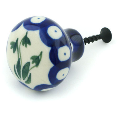 Polish Pottery Drawer knob 1-1/2 inch Weeping Tulips