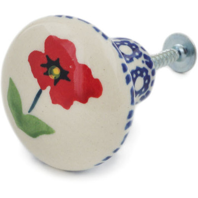 Polish Pottery Drawer knob 1-1/2 inch Wind-blown Poppies