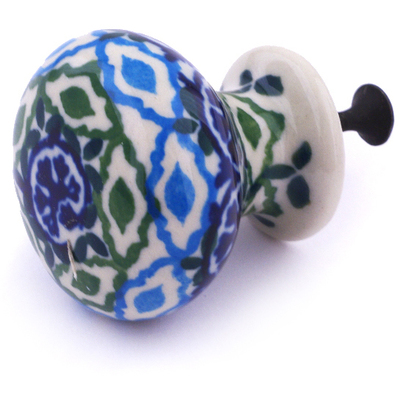 Polish Pottery Drawer knob 1-3/8 inch Aztec Eyes