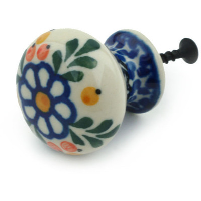 Polish Pottery Drawer knob 1-3/8 inch Berries And Daisies