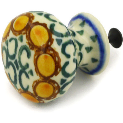 Polish Pottery Drawer knob 1-3/8 inch Blue Leaves