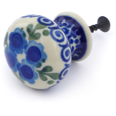 Polish Pottery Drawer knob 1-3/8 inch Blue Poppy Wreath