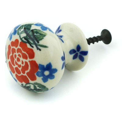 Polish Pottery Drawer knob 1-3/8 inch Burst Of Roses