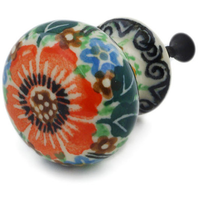 Polish Pottery Drawer knob 1-3/8 inch Orange Wreath UNIKAT