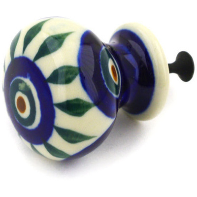Polish Pottery Drawer knob 1-3/8 inch Peacock Leaves