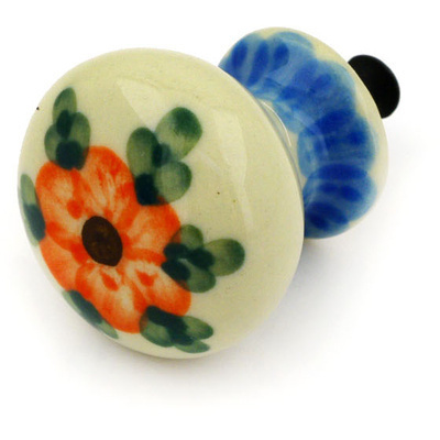 "Polish Pottery Drawer Pull Knob 1"" Cherry Blossoms"