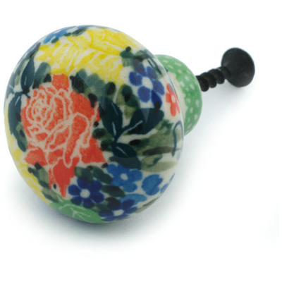 "Polish Pottery Drawer Pull Knob 1"" Rose Bouquet UNIKAT"