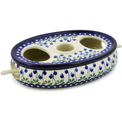 "Polish Pottery Dual Heater 13"" Bleeding Heart Peacock"