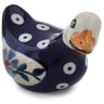 "Polish Pottery Duck Figurine 3"" Peacock Forget-me-not"