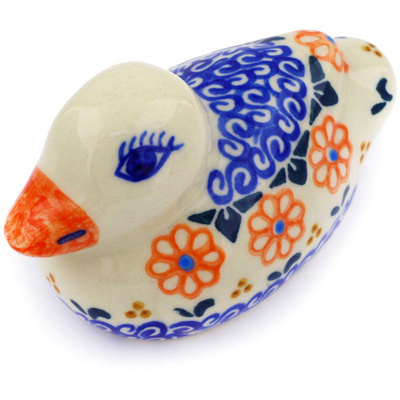 "Polish Pottery Duck Figurine 4"" Amarillo"