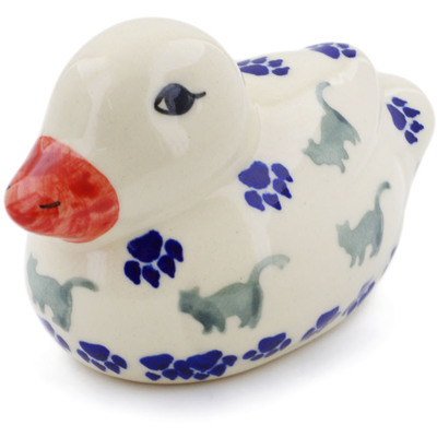 "Polish Pottery Duck Figurine 4"" Boo Boo Kitty Paws"