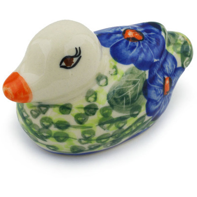 "Polish Pottery Duck Figurine 4"" Brilliant Butterfly Popp UNIKAT"