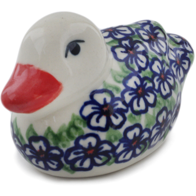 "Polish Pottery Duck Figurine 4"" Flower Bouquet"