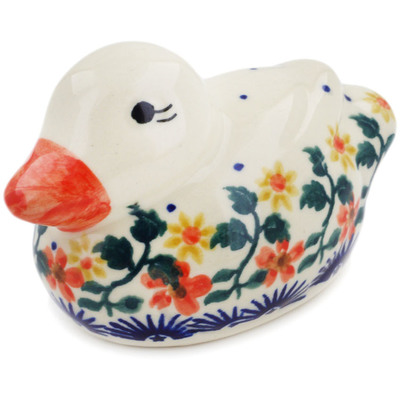 "Polish Pottery Duck Figurine 4"" Red Sunflower"