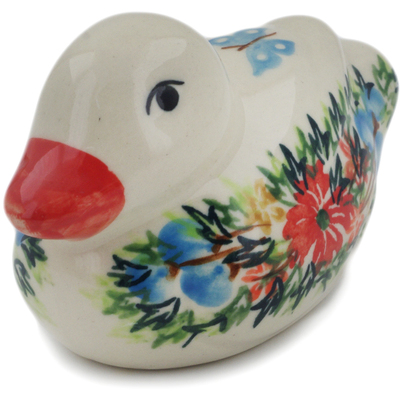 "Polish Pottery Duck Figurine 4"" Ring Of Flowers UNIKAT"