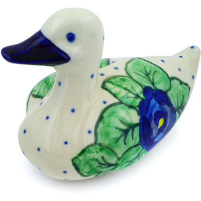 "Polish Pottery Duck Figurine 5"" Blue Pansies UNIKAT"