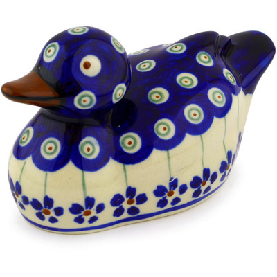 "Polish Pottery Duck Figurine 5"" Flowering Peacock"