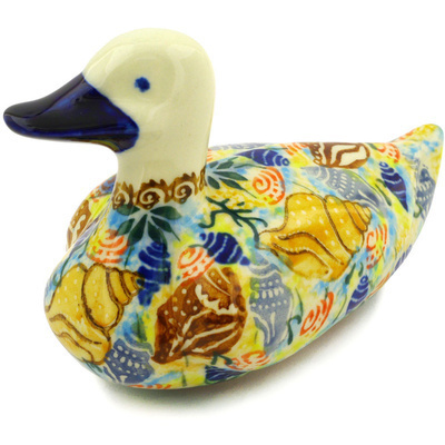 "Polish Pottery Duck Figurine 5"" Ocean Whisper UNIKAT"