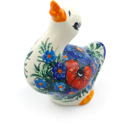 "Polish Pottery Duck Figurine 5"" Summertime Blues"