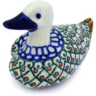 "Polish Pottery Duck Figurine 5"" Turkish Delight UNIKAT"