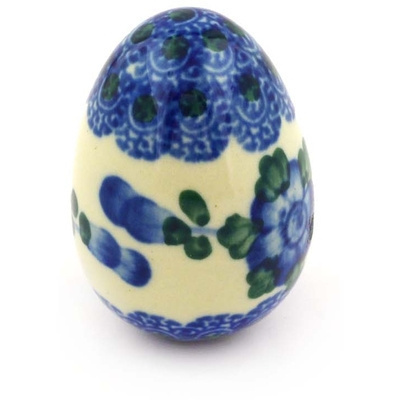 "Polish Pottery Egg Figurine 2"" Blue Poppies"