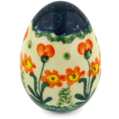 "Polish Pottery Egg Figurine 2"" Peach Spring Daisy"