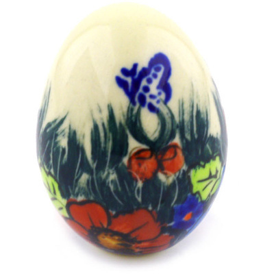"Polish Pottery Egg Figurine 3"" Butterfly Splendor UNIKAT"