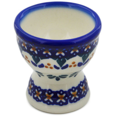 "Polish Pottery Egg Holder 2"" Blue Cress"