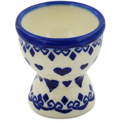 "Polish Pottery Egg Holder 2"" Blue Valentine"